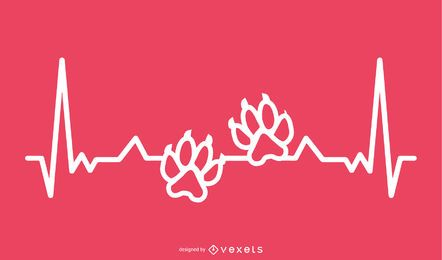 Animal Paw Print with Heartbeat Line Design