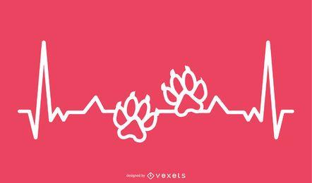 Estampado de pata animal con diseño de línea de latidos del corazón