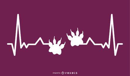 Pata de animal com ilustração de linha de batimento cardíaco