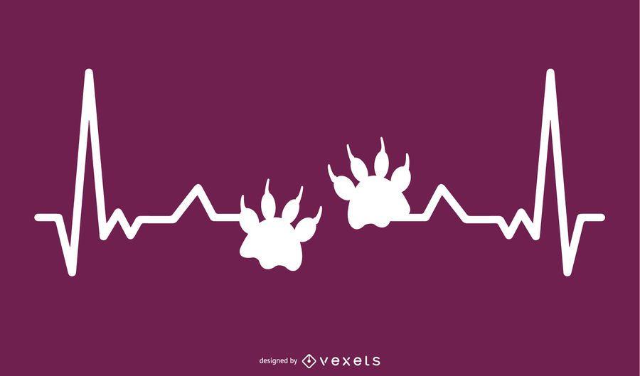 Pata animal con ilustración de línea de latido del corazón