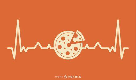 Pizza com design de linha de batimento cardíaco