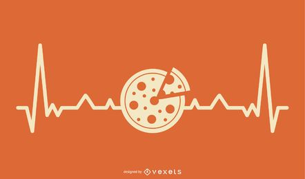 Pizza con Heartbeat Line Design