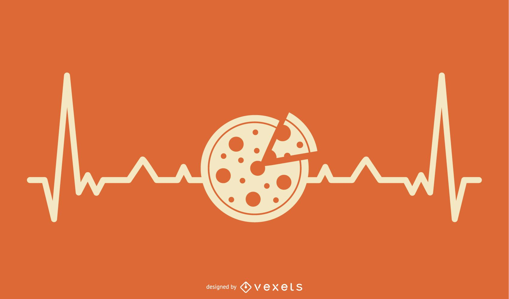 Pizza with Heartbeat Line Design
