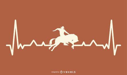 Rodeo con ilustración de línea de latido del corazón
