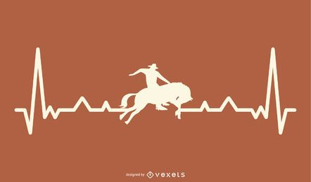 Rodeo with Heartbeat Line Illustration