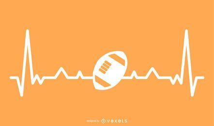 Pelota de rugby con línea de latido del corazón ilustración