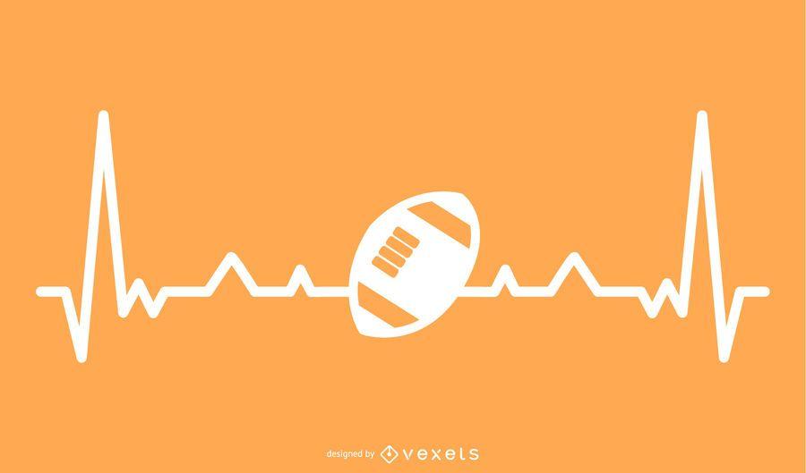 Bola de Rugby com ilustração de linha de batimento cardíaco