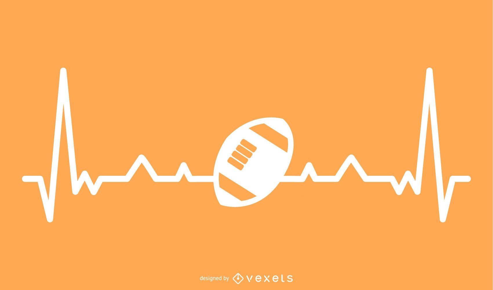 Pelota de rugby con ilustración de línea de latido del corazón