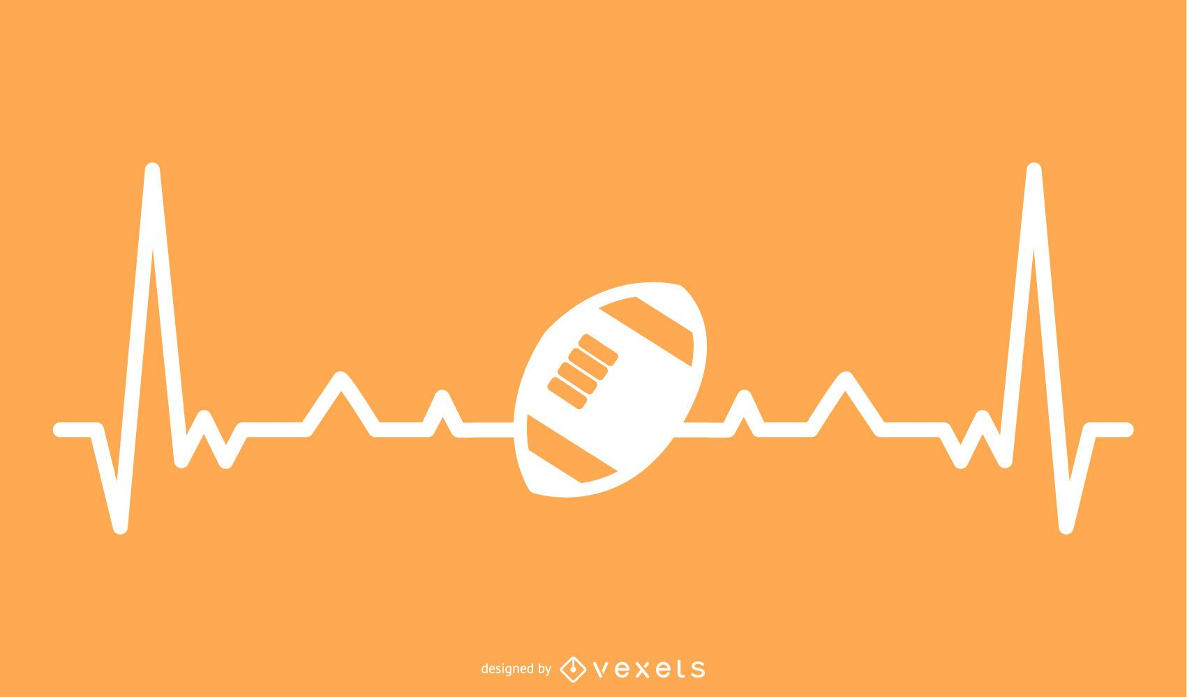Rugby Ball with Heartbeat Line Illustration