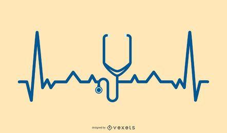 Estetoscópio com design de linha de batimento cardíaco