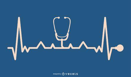 Dispositivo de estetoscopio con diseño de línea de latidos del corazón
