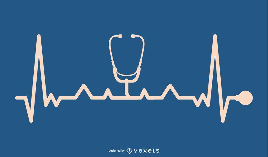 Dispositivo de estetoscópio com design de linha de batimento cardíaco