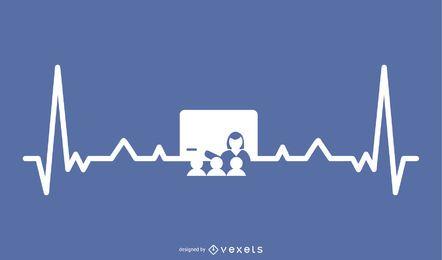 Lehrer mit Heartbeat Line Design