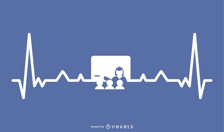 Teacher with Heartbeat Line Design