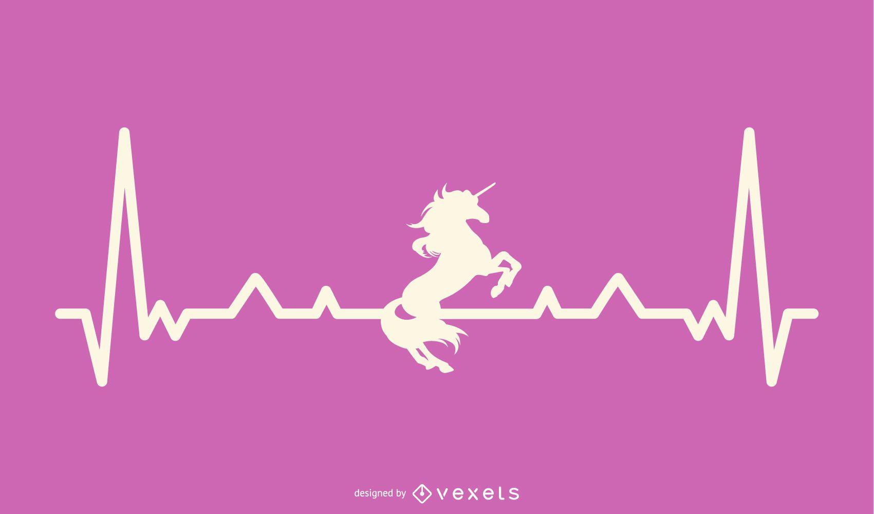 Unicorn with Heartbeat Line Illustration
