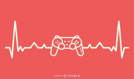 Jogos de vídeo com design de linha de batimento cardíaco