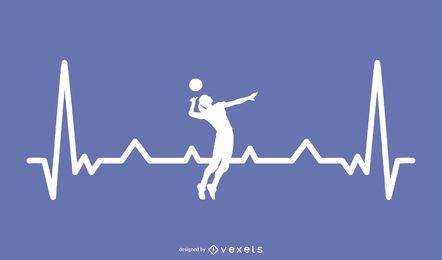 Voleibol com design de linha de batimento cardíaco