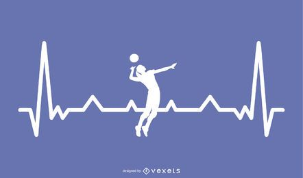 Volleyball mit Heartbeat Line Design