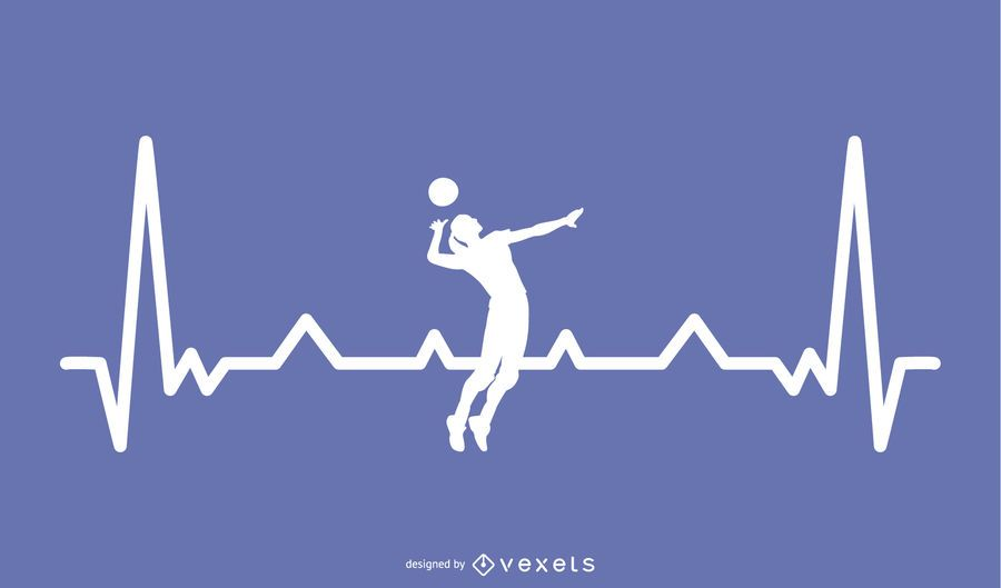 Volleyball with Heartbeat Line Design
