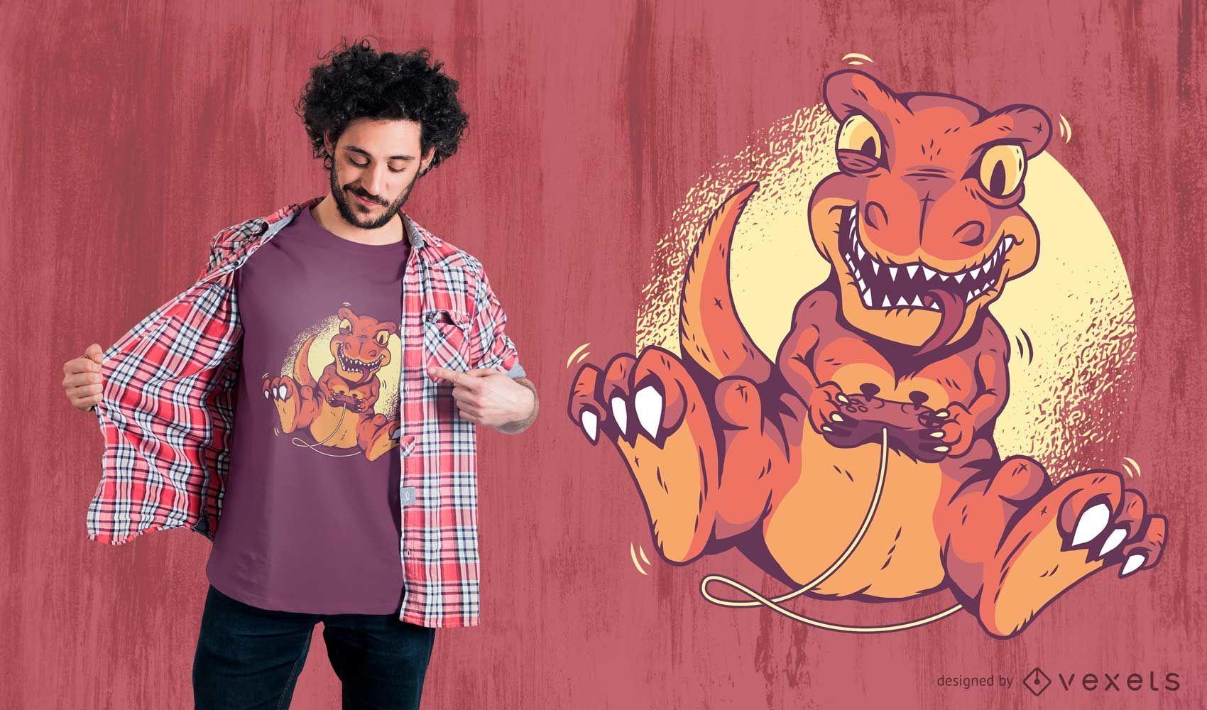 Gamer Dinosaur T-Shirt Design