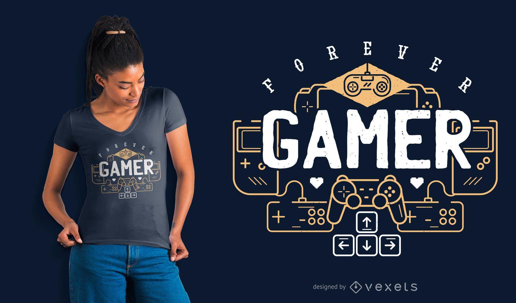 Design de camisetas do Forever Gamer
