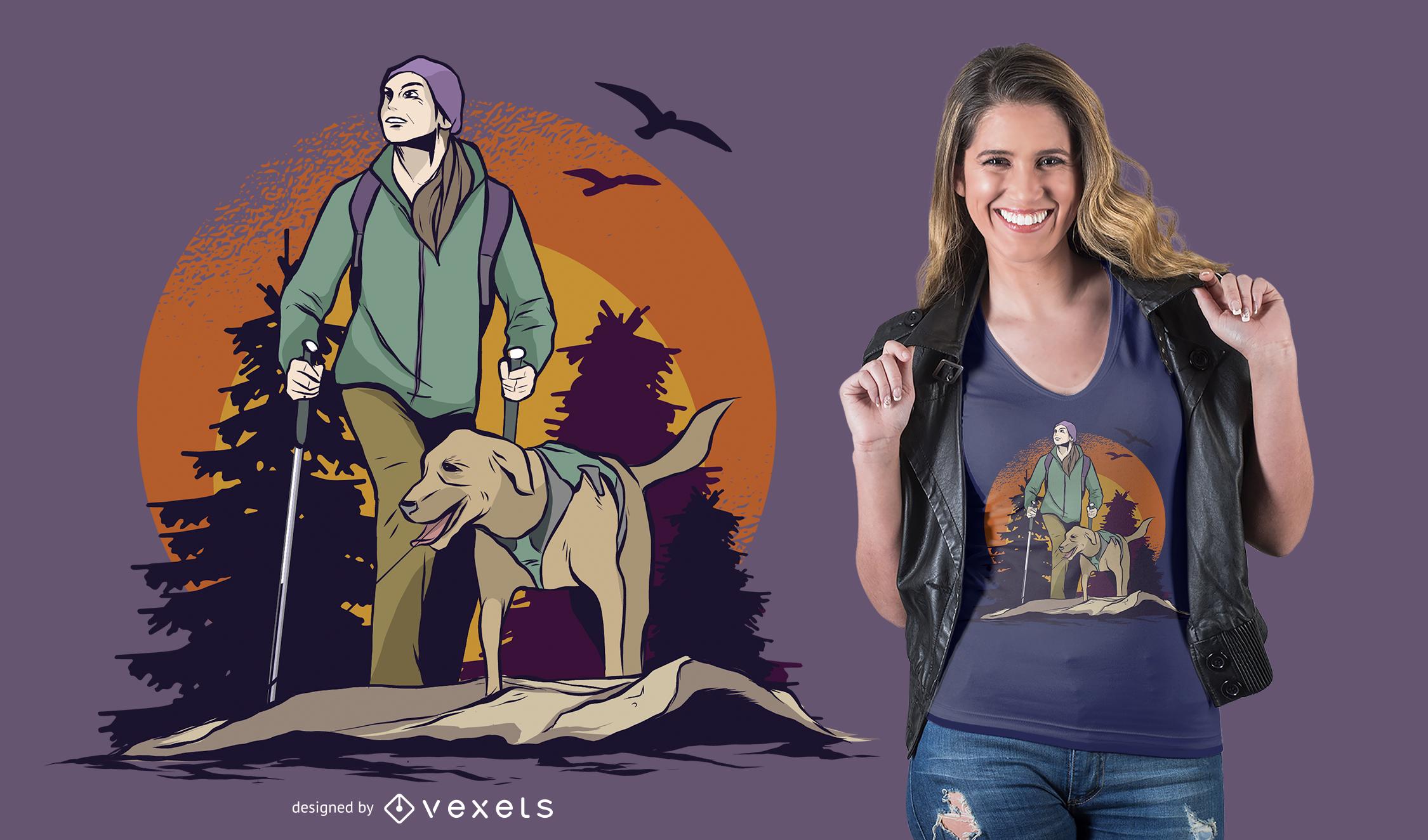 Diseño de camiseta de senderismo bosque