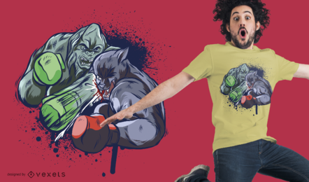 Diseño de camiseta Boxing Creatures