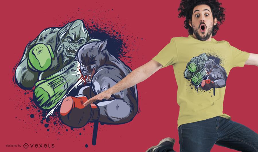 Diseño de camiseta de criaturas de boxeo