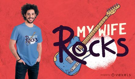 Diseño de camiseta de My Wife Rocks