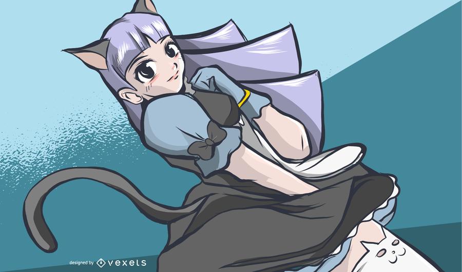 Ilustração de garota de empregada de gato de anime
