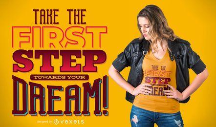 Projeto ideal do t-shirt das citações das etapas