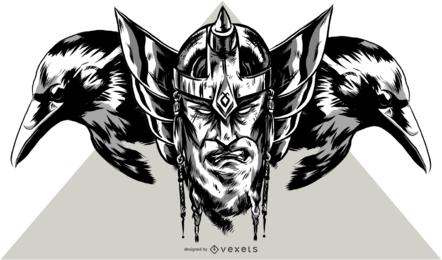Viking e ilustração de corvo