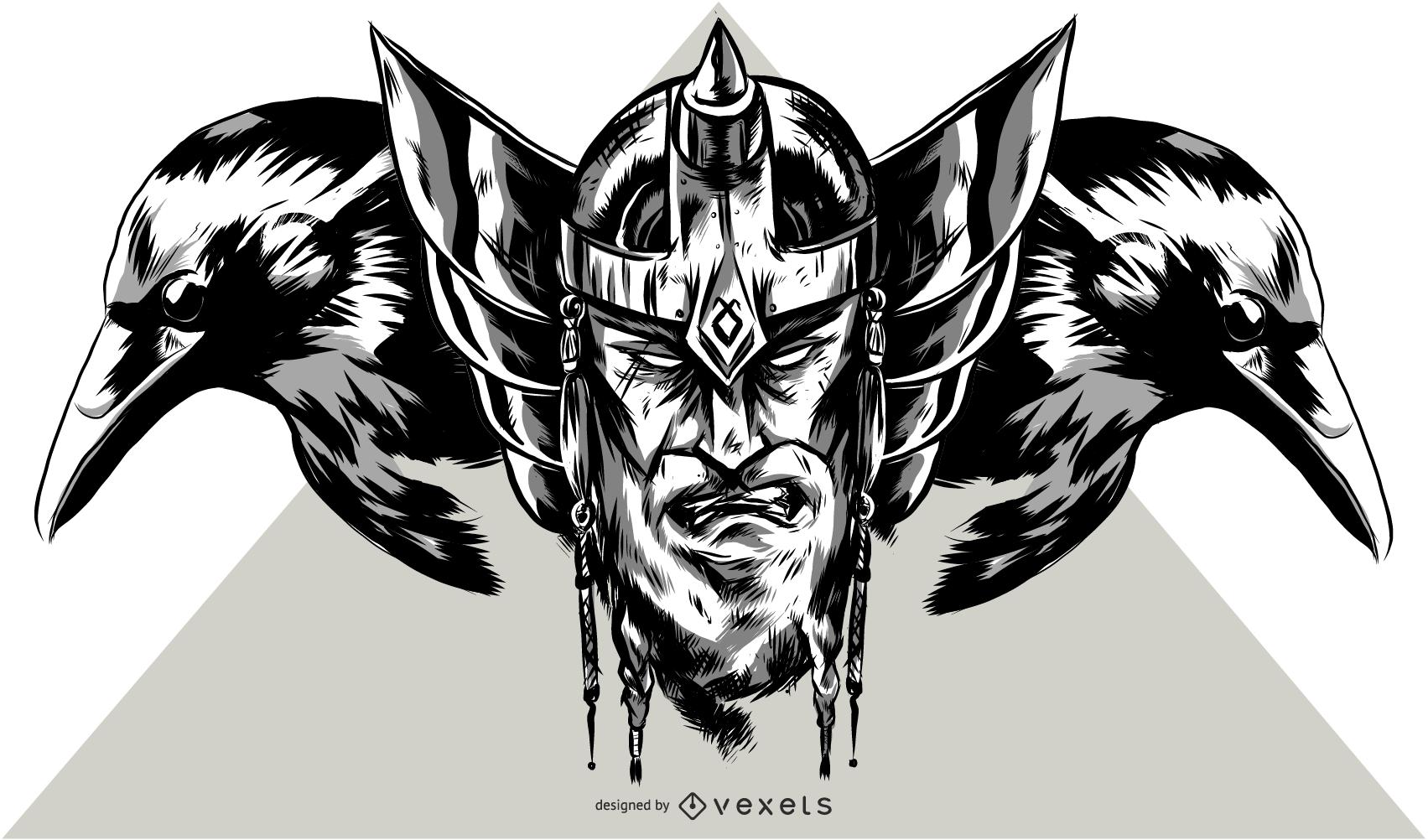 Ilustración de vikingo y cuervo