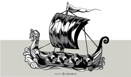 Viking Ship Illustration