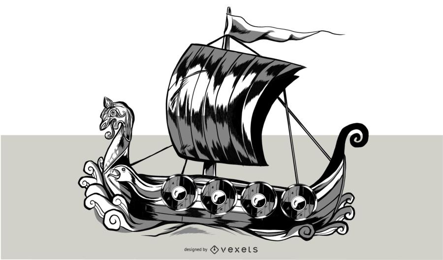 Wikinger Schiff Illustration