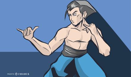 Ilustración de luchador de anime