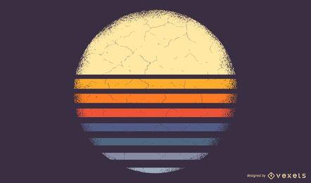 Ilustração listrada do pôr do sol