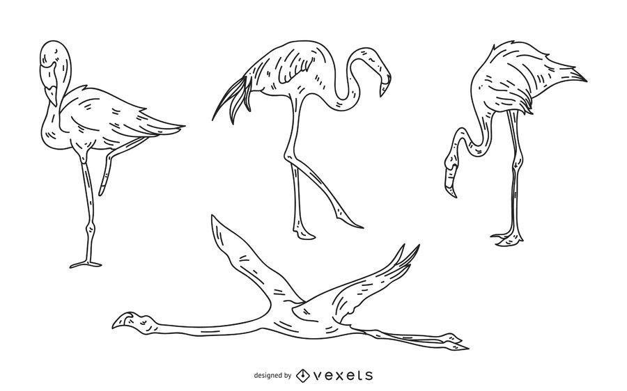 Flamingo Stroke Style Illustration Set