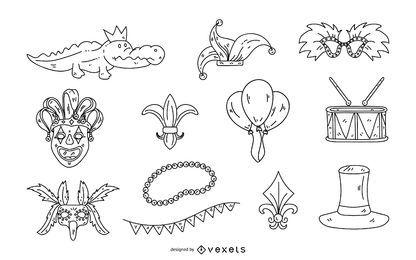 Conjunto de ilustración de trazo Mardi Gras