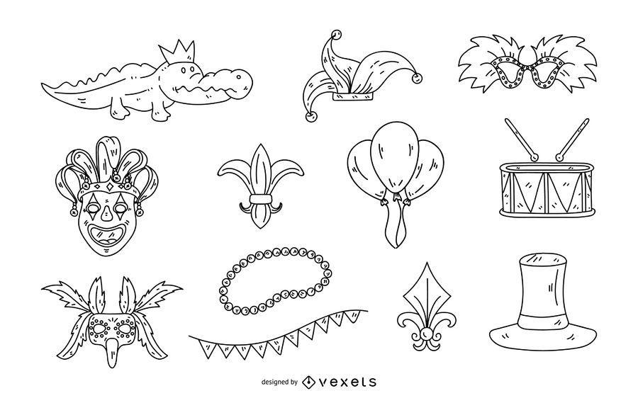 Mardi Gras Stroke Illustration Set