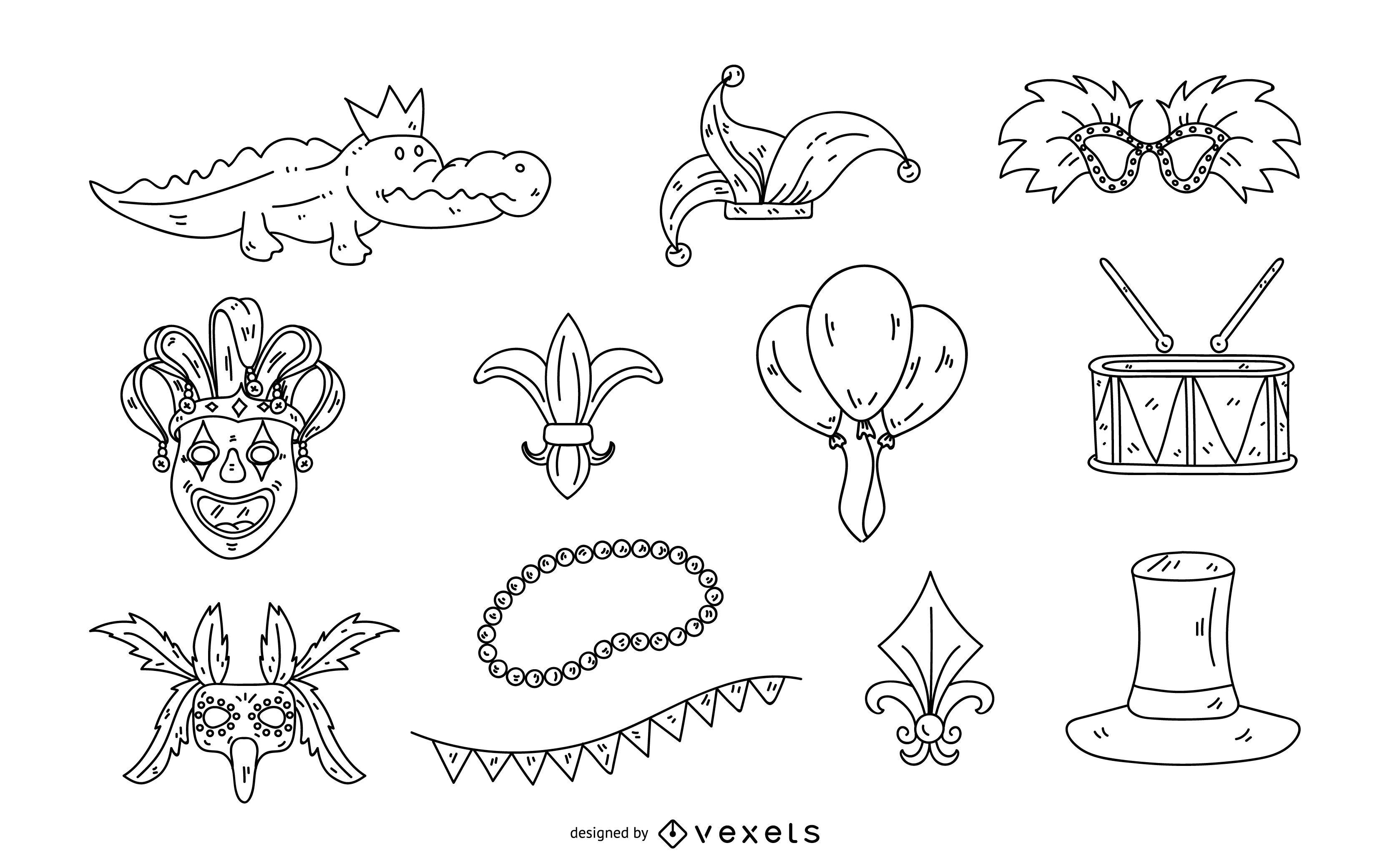 Conjunto de ilustración de trazo de Mardi Gras