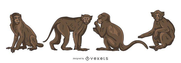 Conjunto de vetores de macaco marrom