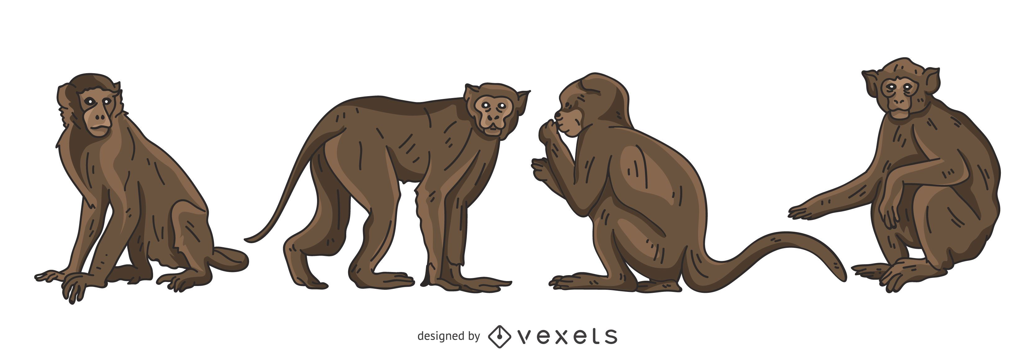 Brown Monkey Vector Set