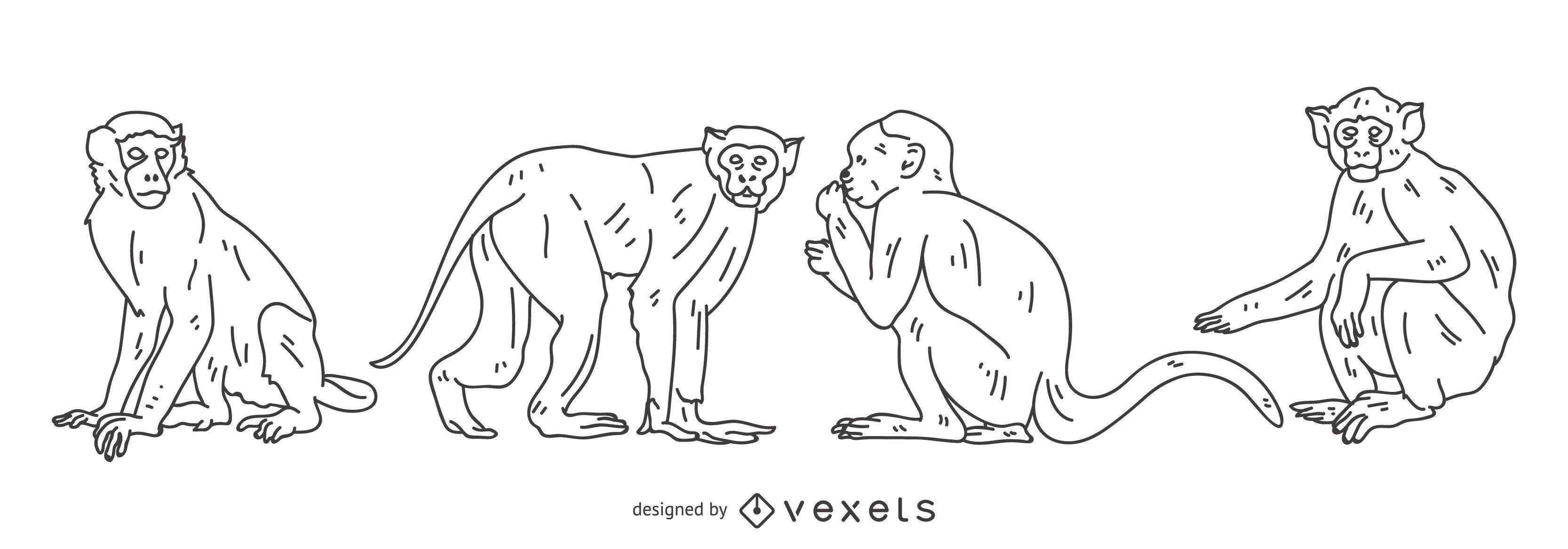 Conjunto de trazos de mono