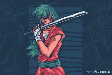 Ilustración de personaje de anime de espada