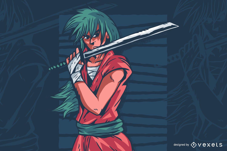 Sword Anime Character Illustration