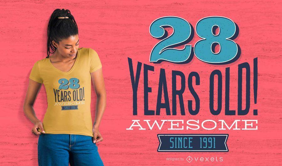 Anos do aniversário design do t-shirt 1991