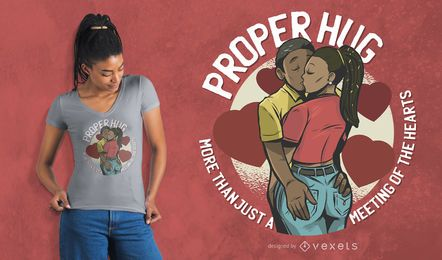 Projeto apropriado do t-shirt dos amantes do abraço