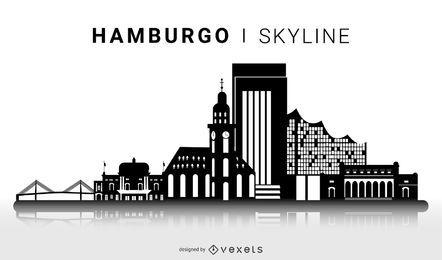 Projeto de skyline de silhueta de Hamburgo