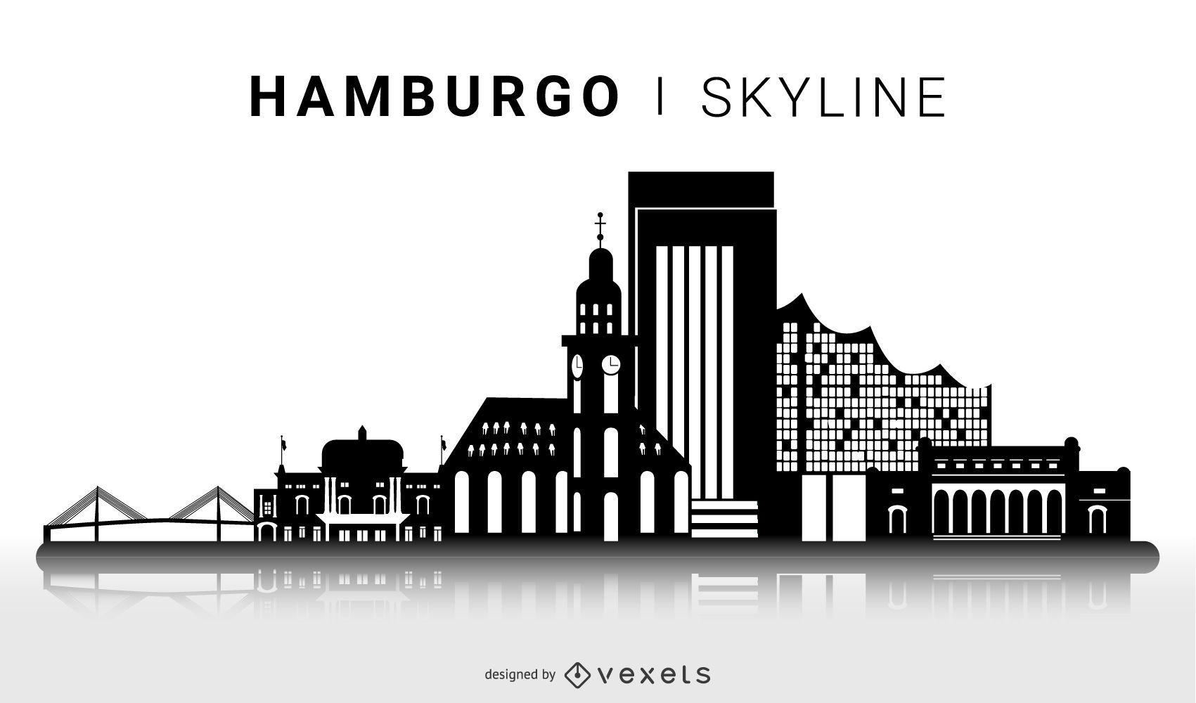 Diseño de horizonte de silueta de Hamburgo